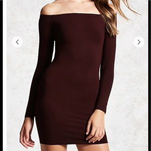 Burgundy off the shoulder forever21 dress